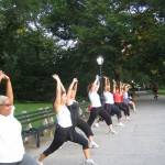 "Stretching the (toned) hips after a tough ""traveling day"" @ our Kips Bay location"