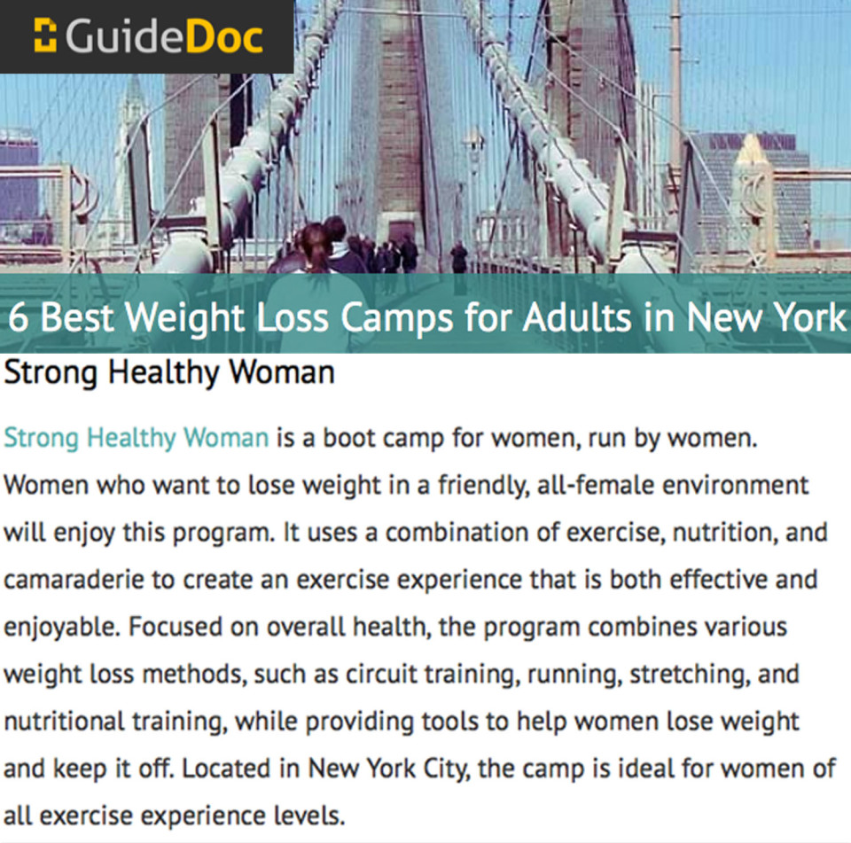Best Weight Loss Boot Camp NYC StrongHealthyWoman