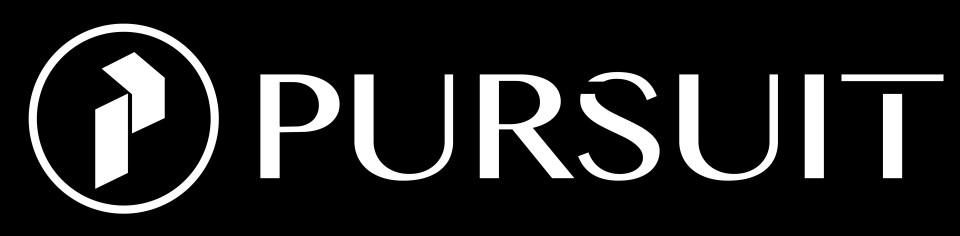 Pursuit Logo - White, Black BG 5.3 SMALL