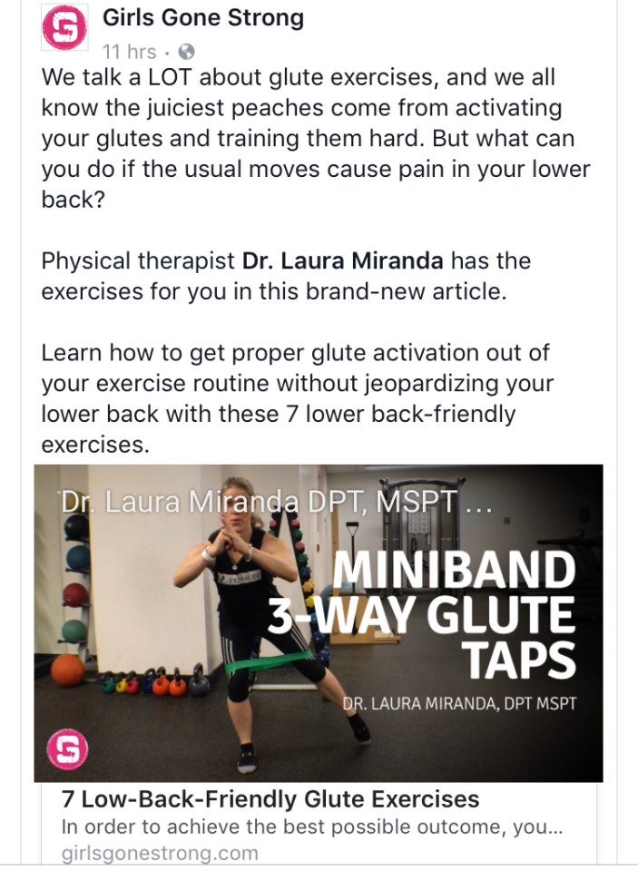 Dr. Laura Miranda - Girls Gone Strong - Low Back Friendly Glute Exercises