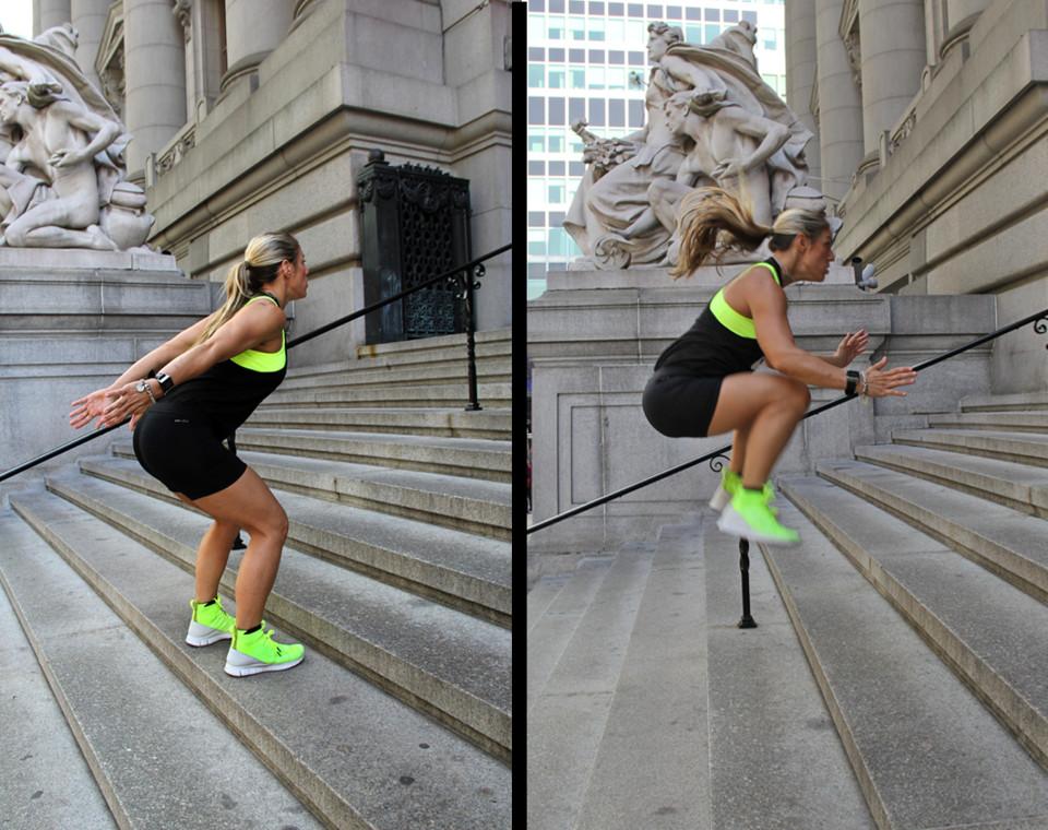 Laura Miranda Stair Workout - Borad Jump